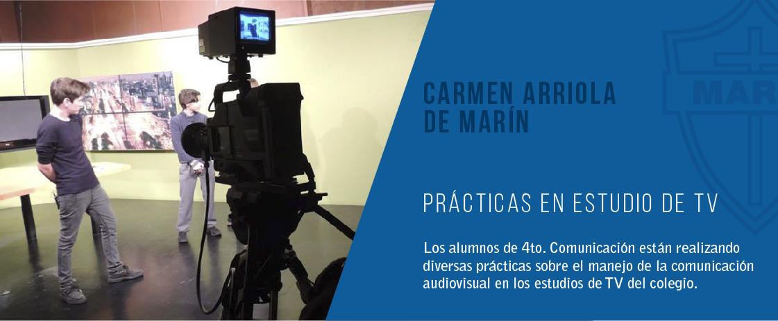noticia. practicas en el estudio de televisión en el colegio carmen arriola de marín